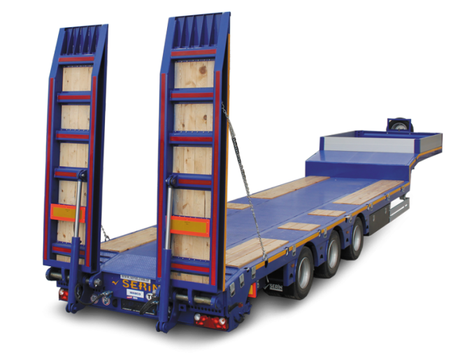 3– x axle low loader semi-trailer SERIN with one lifting axle