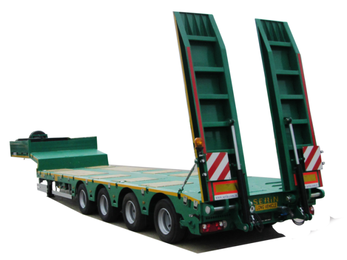 4 - axle low loader semi trailer SERIN with one lifting axle